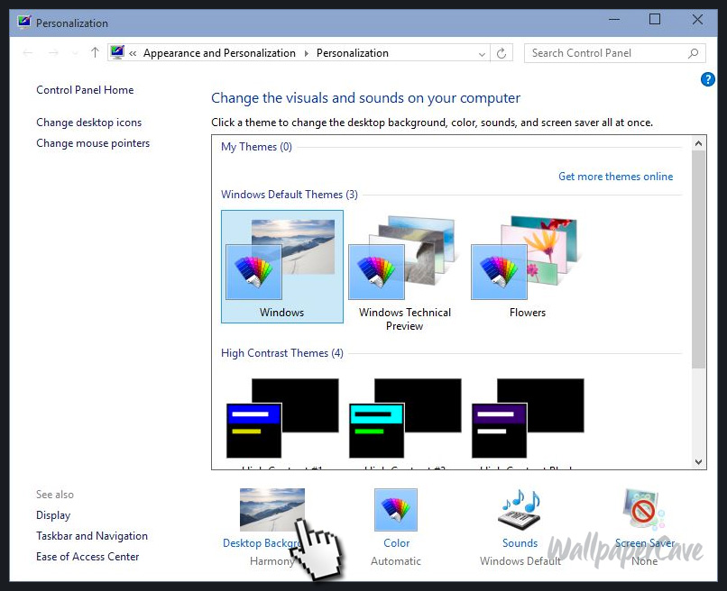 Windows 10 personalization window
