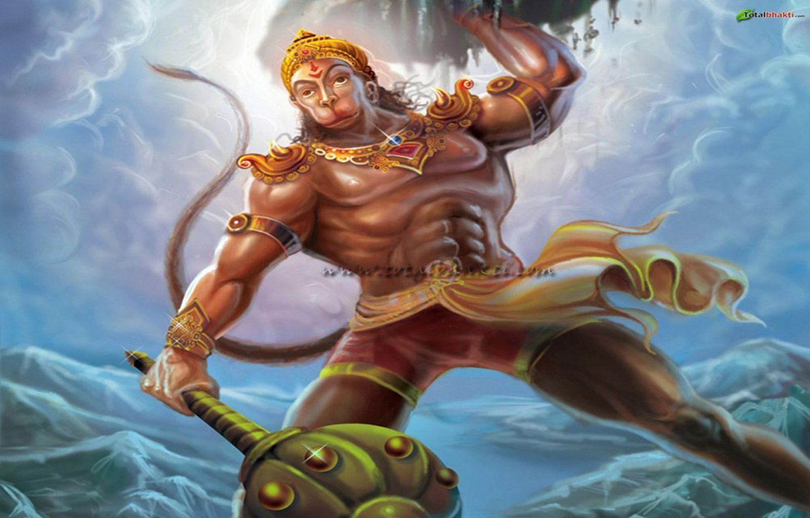 hanuman wallpaper, Hindu wallpaper, Lord Hanuman lifting mountain