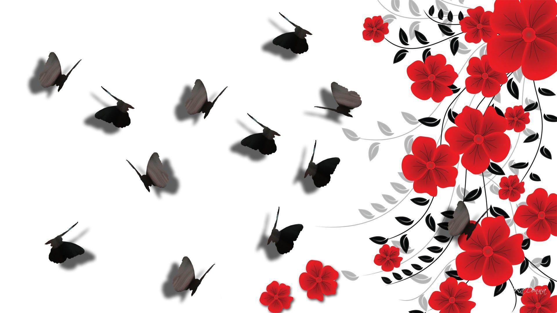 Обои черные с красным рисунком