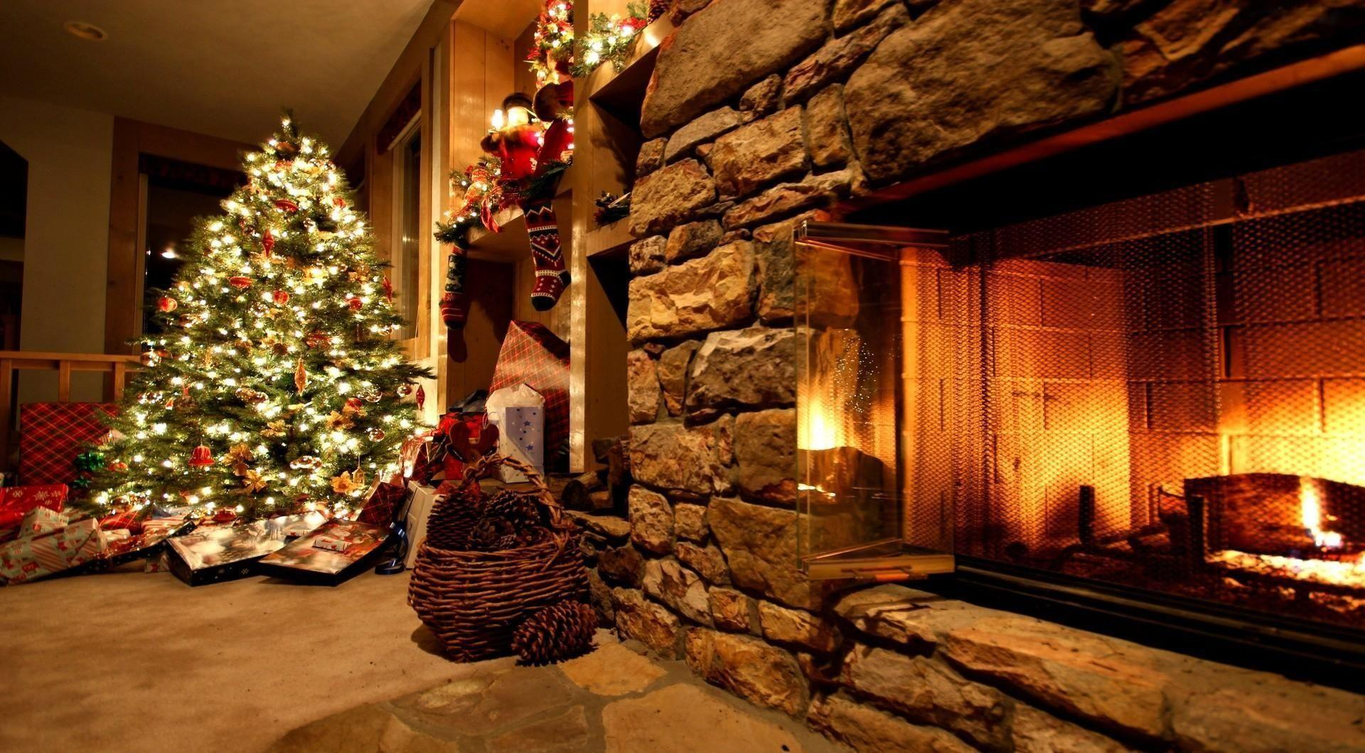 Download Wallpapers christmas tree, ornaments, fireplace, gifts
