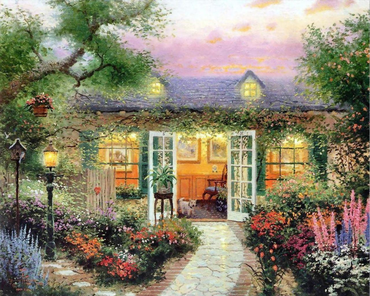 kinkade summer wallpaper drawing - photo #31