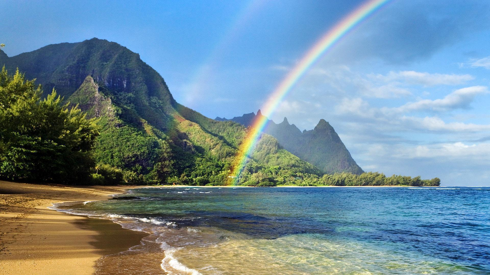 Glorious Rainbow On Hawaiian Beach Wallpapers