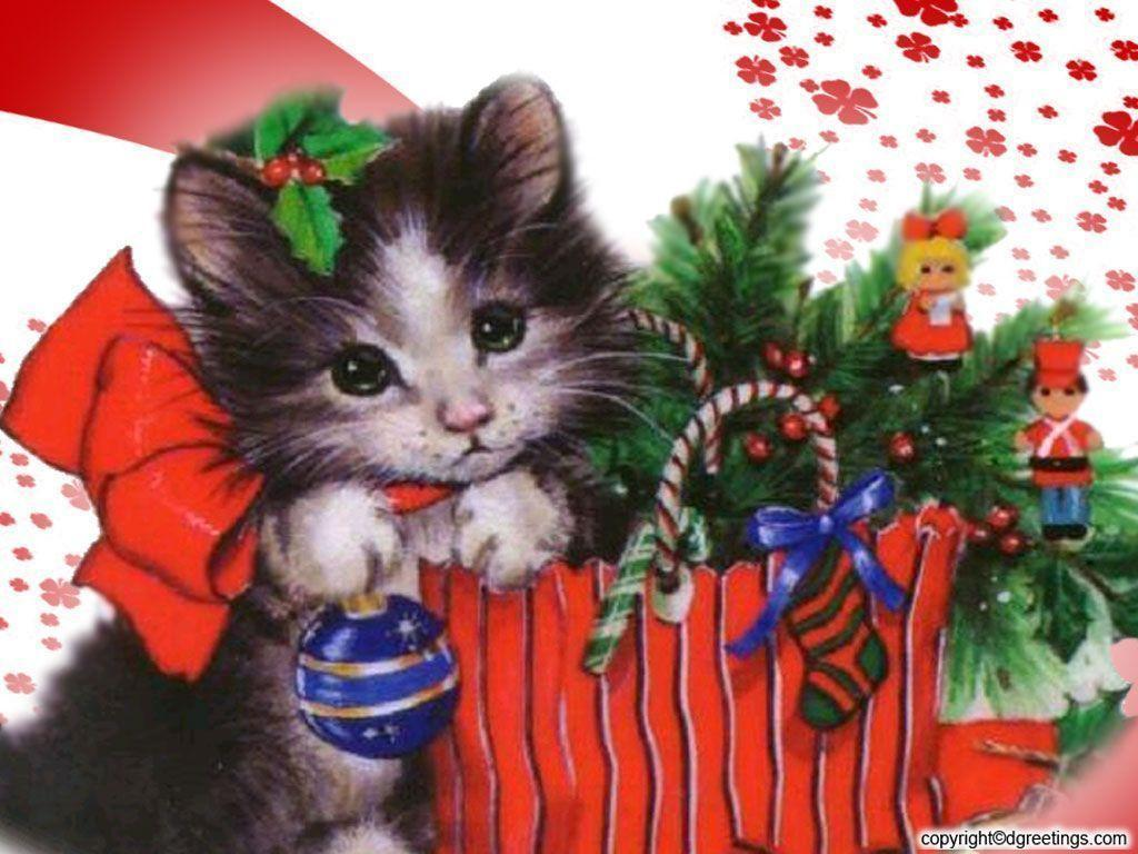 Free Beautiful Christmas Kitten Wallpaper wallpaper Wallpapers ...