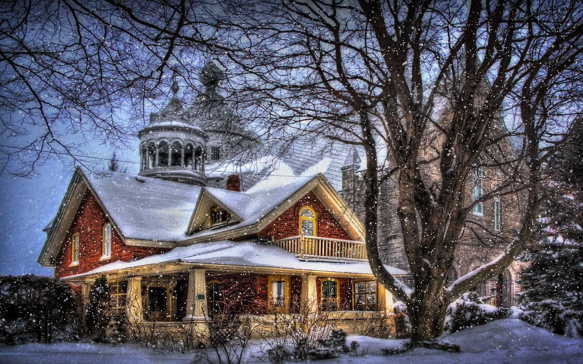 tree christmas house wallpaper - photo #14