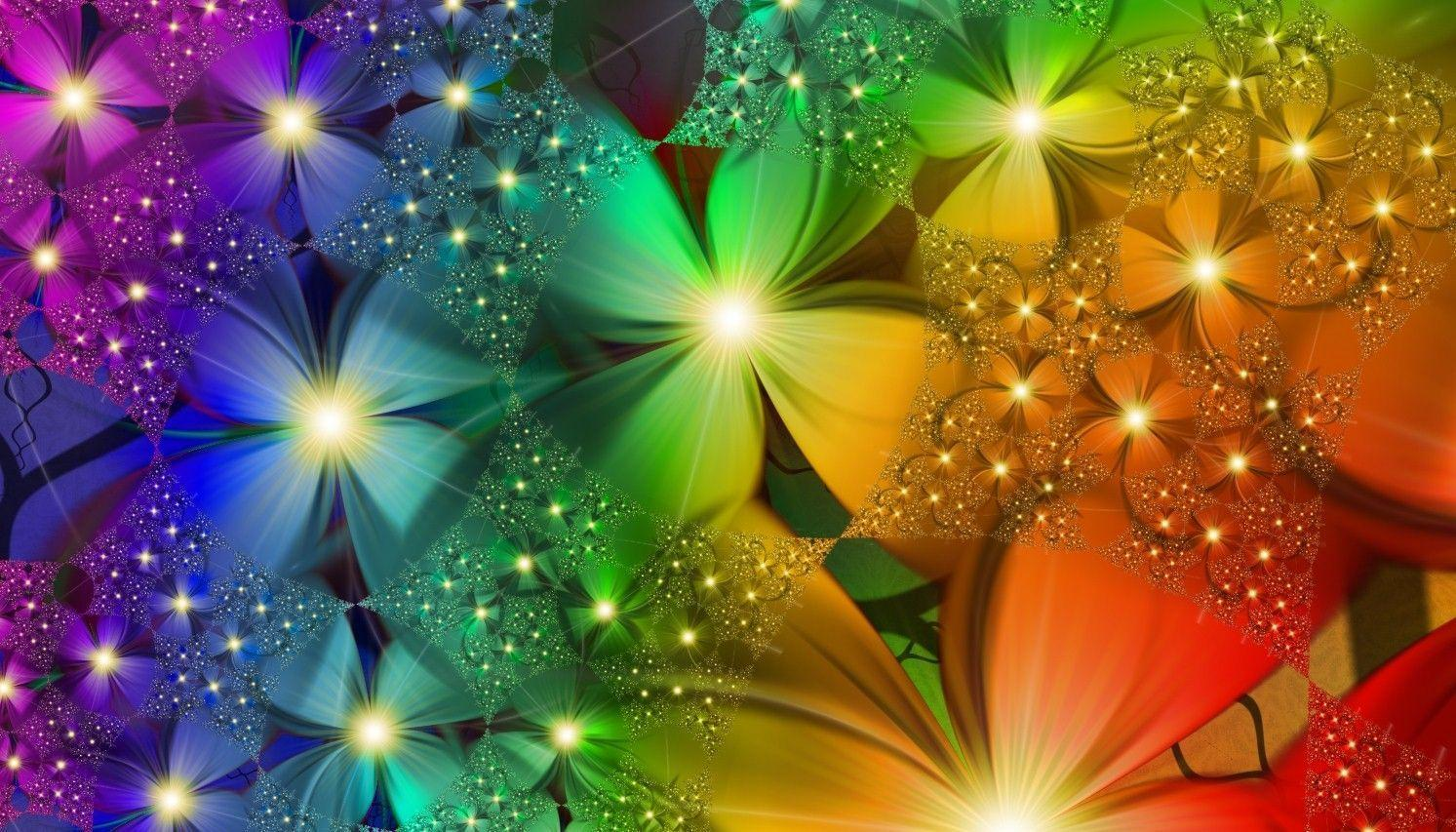 rainbow flowers wallpaper paintings - photo #24