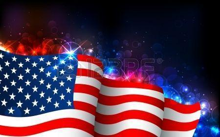 Illustration Of American Flag On Abstract Glowing Backgrounds