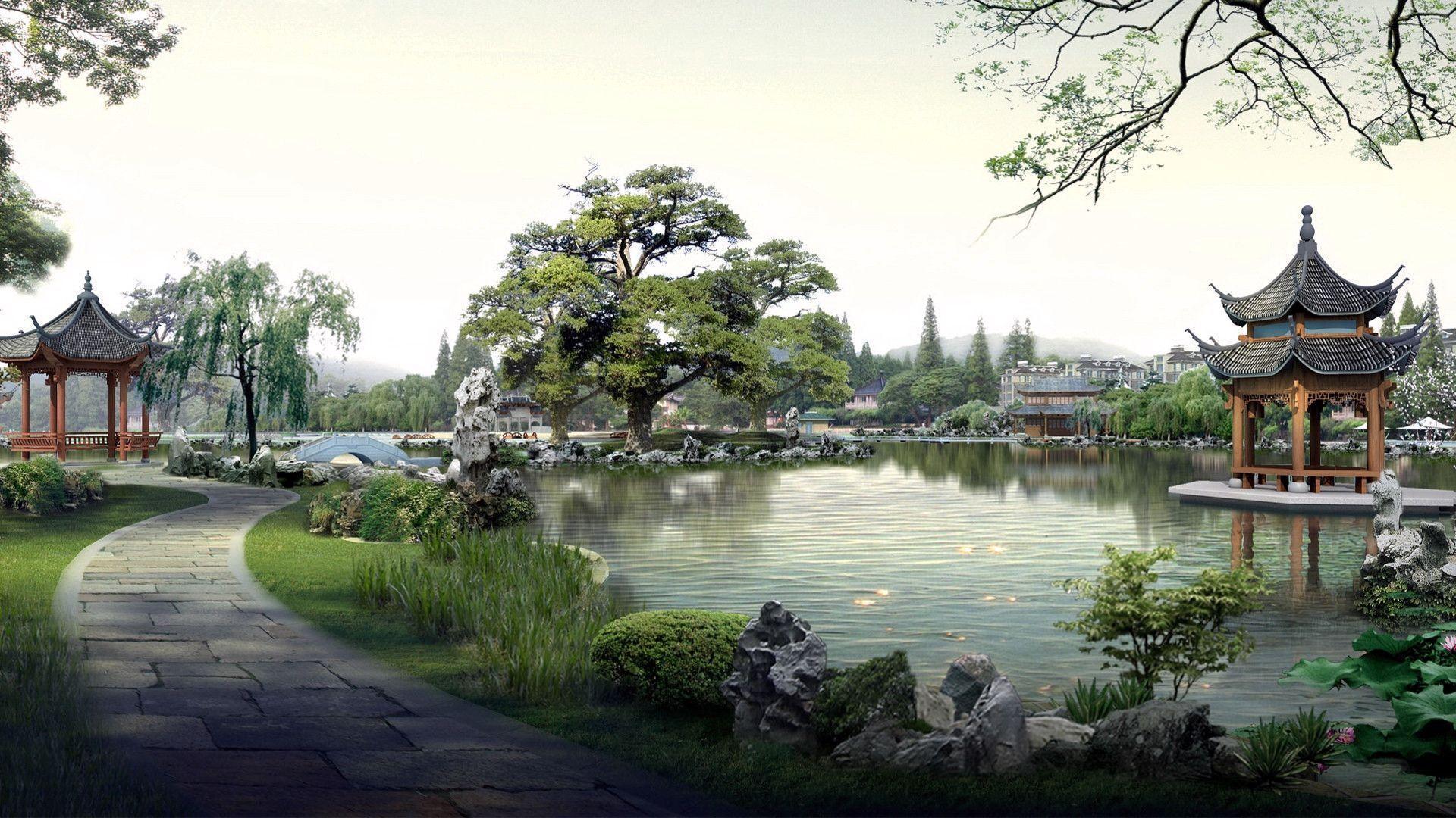 Japanese Garden widescreen wallpaper | Wide-