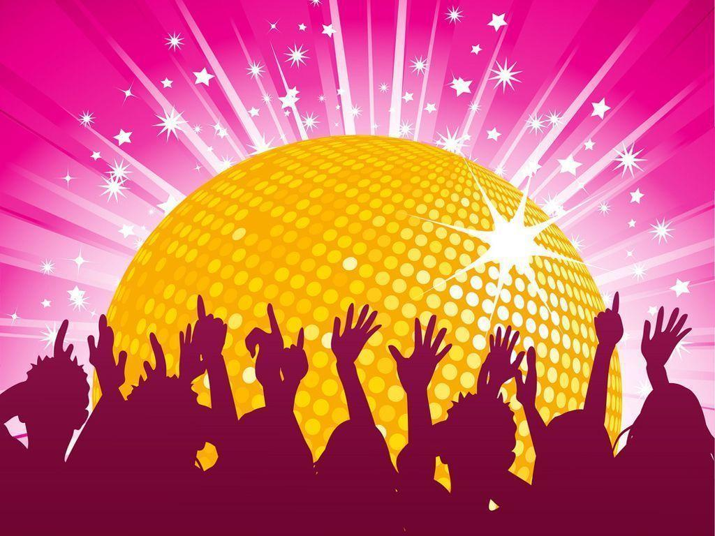 Orange disco ball and crowd party PPT Backgrounds 1024x768