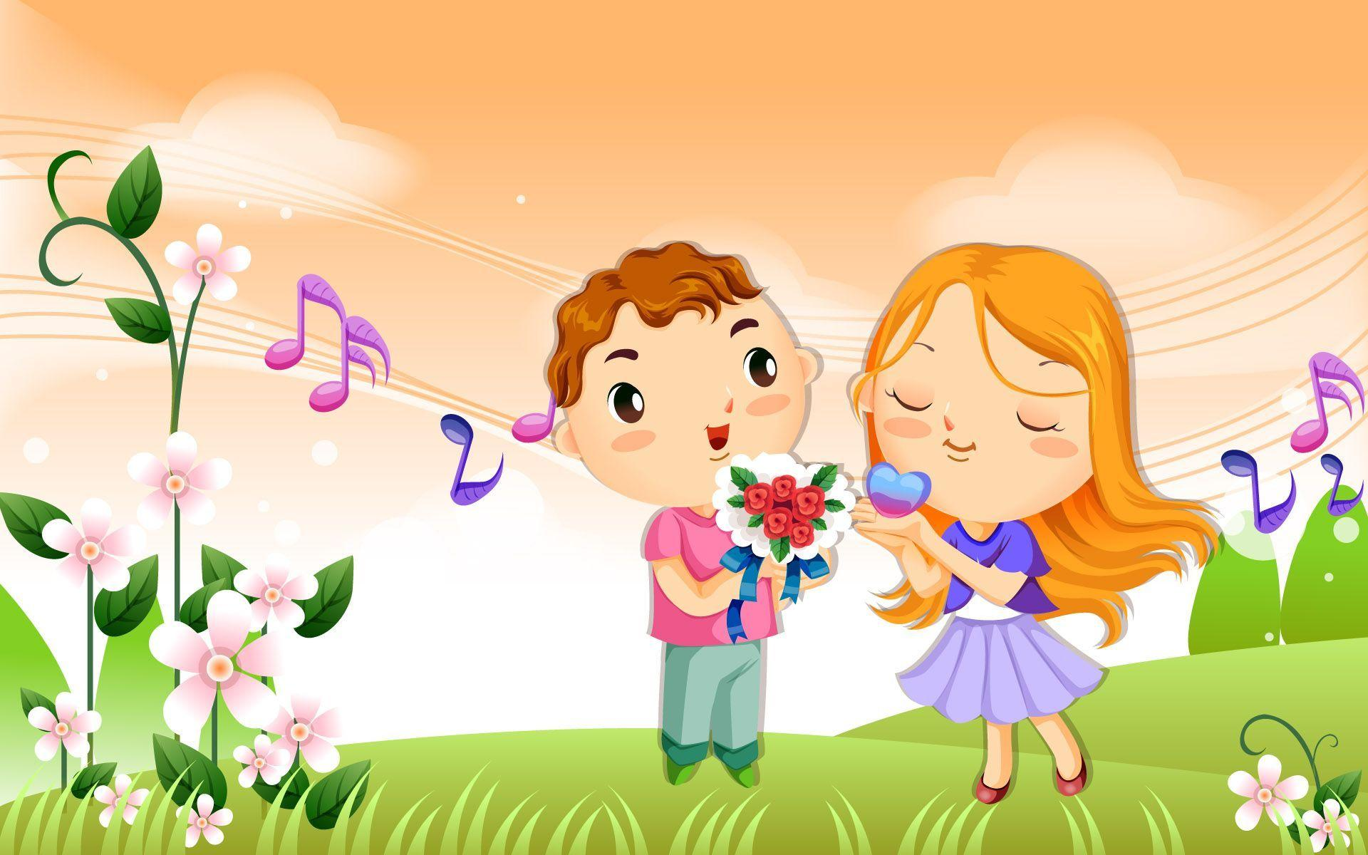 Vector Love cartoon wallpapers Wallpapers