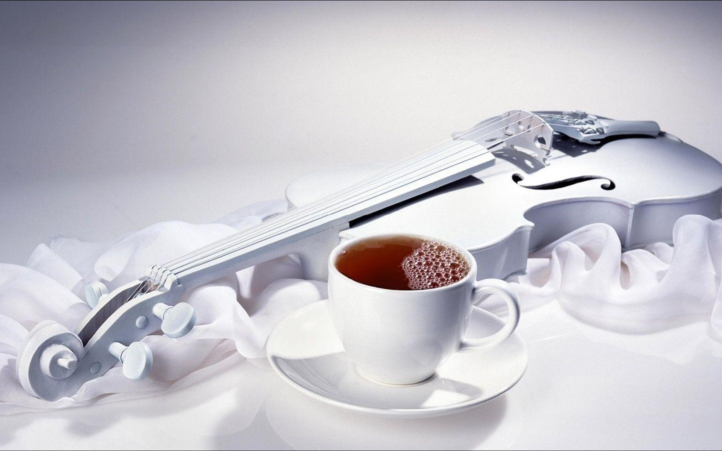 Coffee and violin Wallpaper | 1440x900 resolution wallpaper ...
