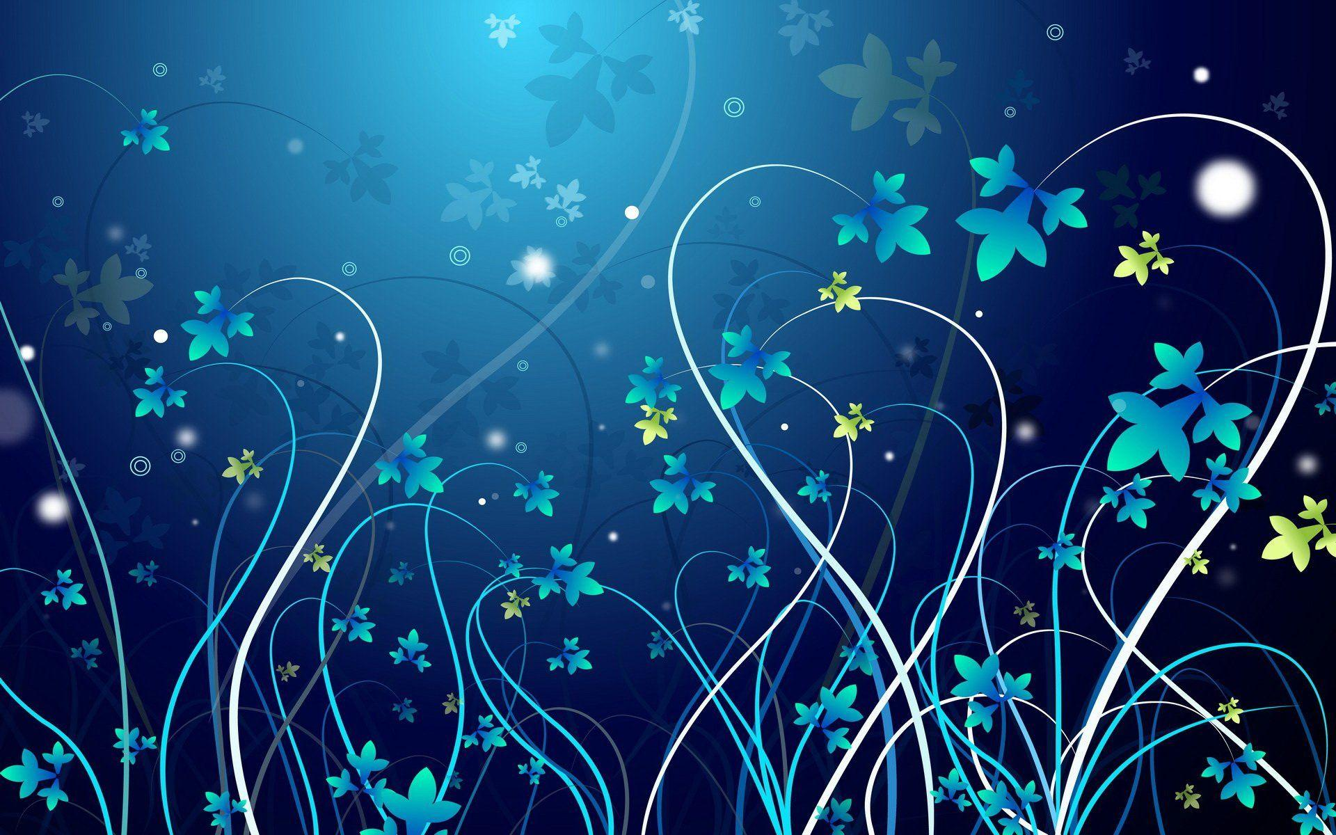 Pretty Blue Vines Wallpaper