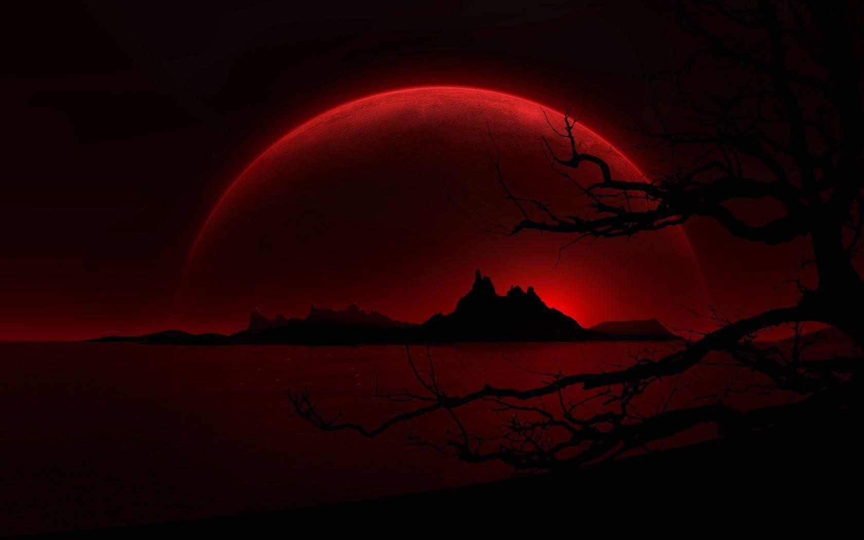 Awesome Black Island And Dark Red Moon HD Wallpaper Picture HD ...