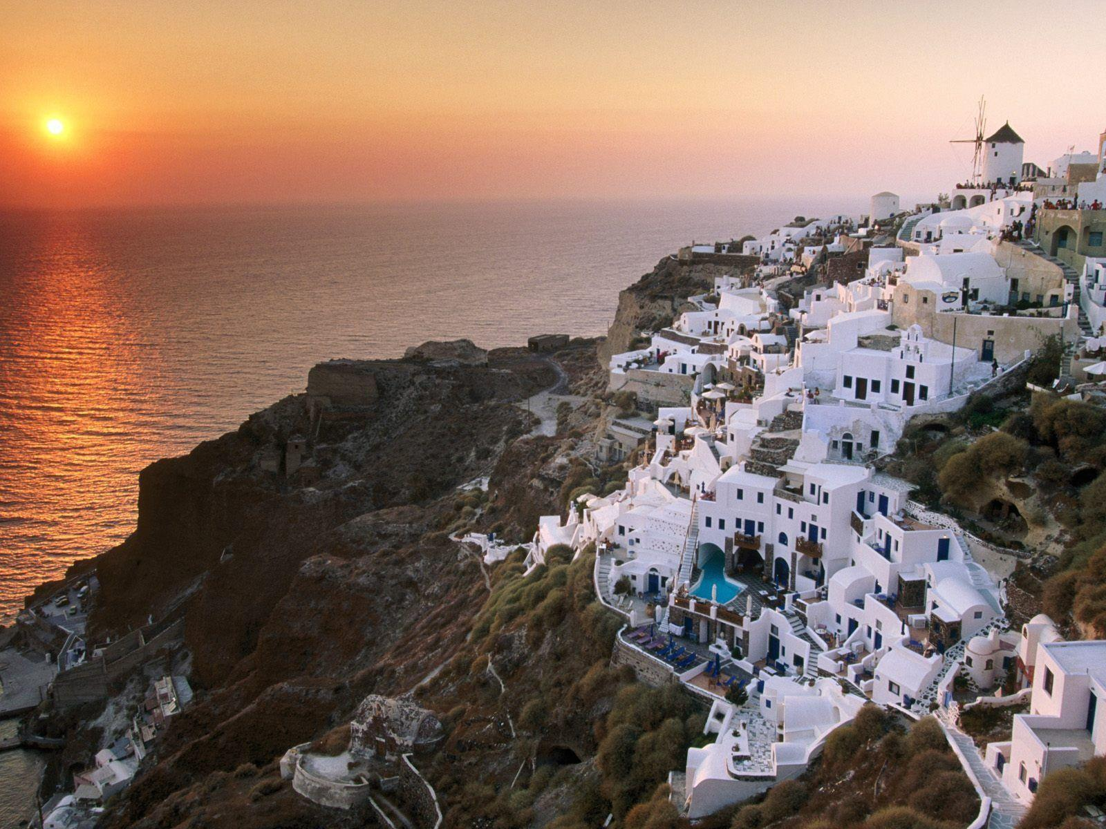 Sunset In Santorini Island Desktop Wallpapers