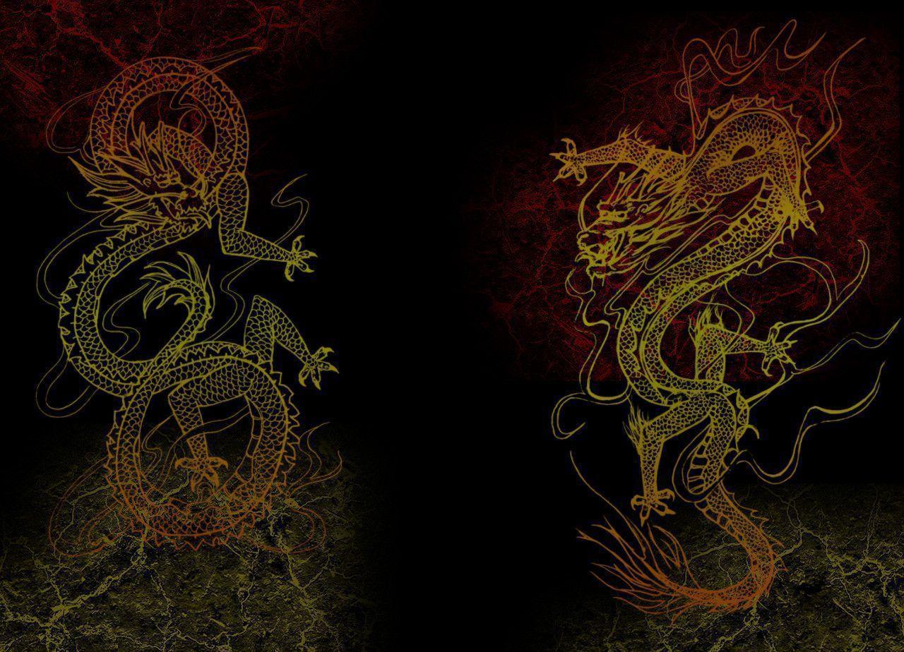 Chinese dragon painting wallpaper