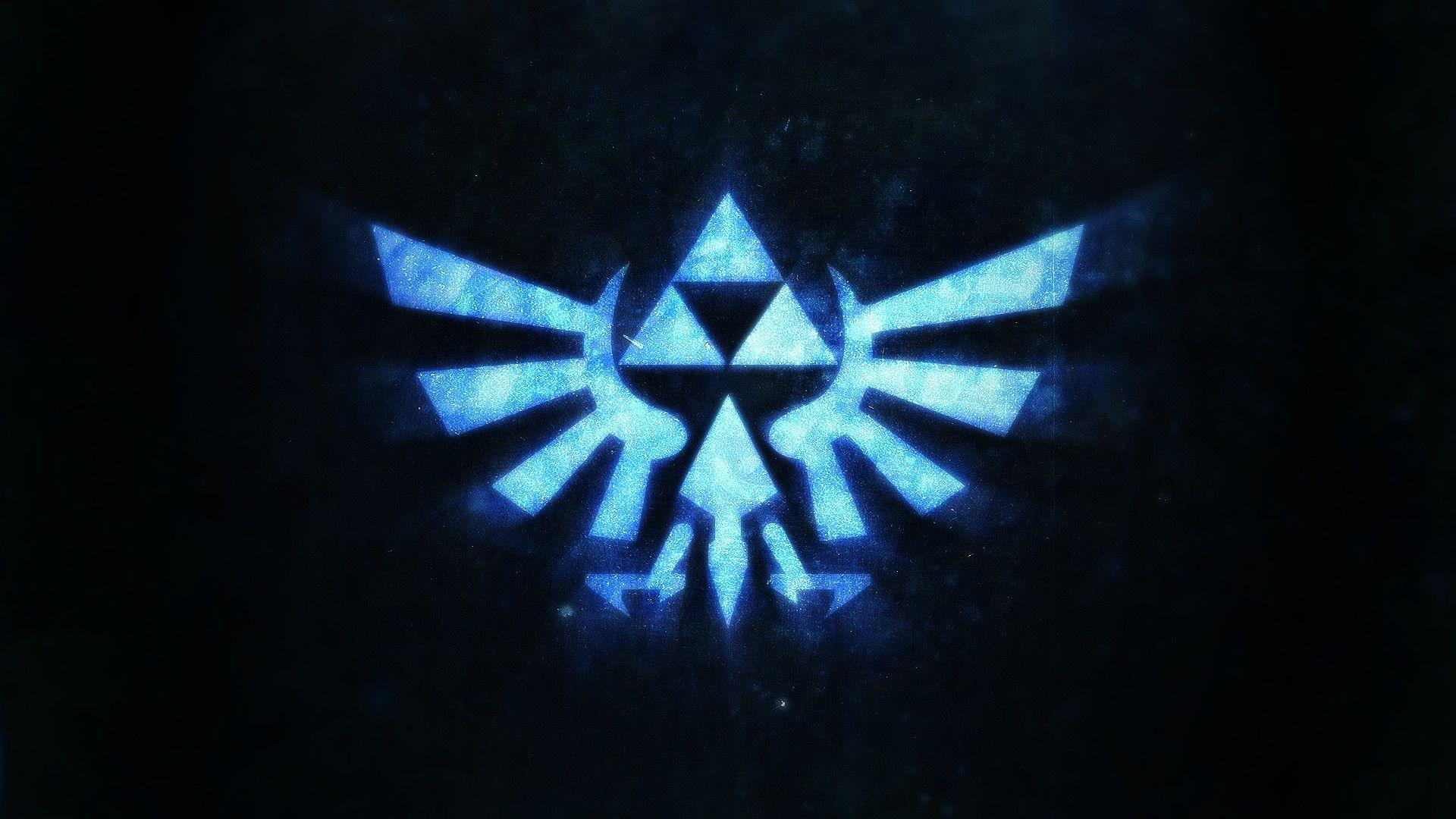 Hd wallpaper zelda - Blue Triforce Logo Hd Wallpaper 1920x1080