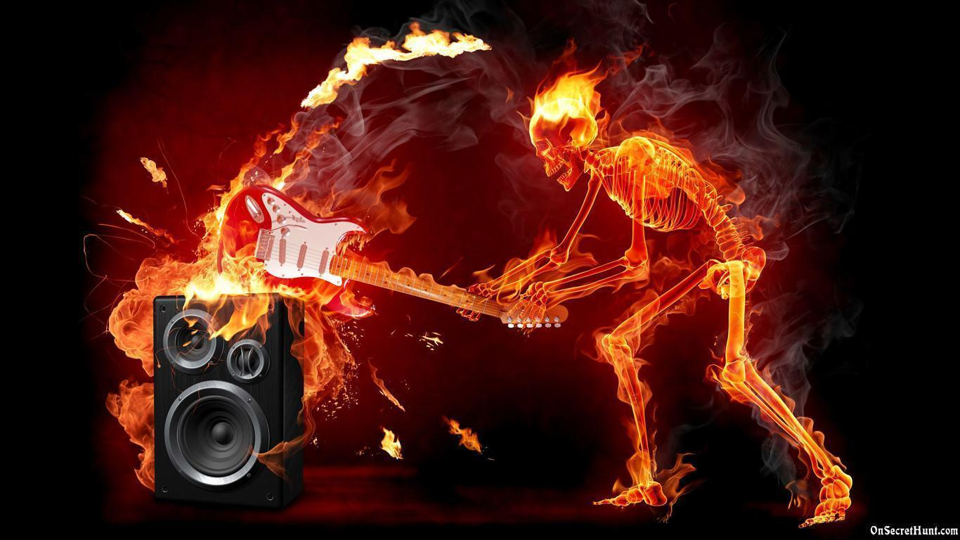 music fire skull wallpapers hd