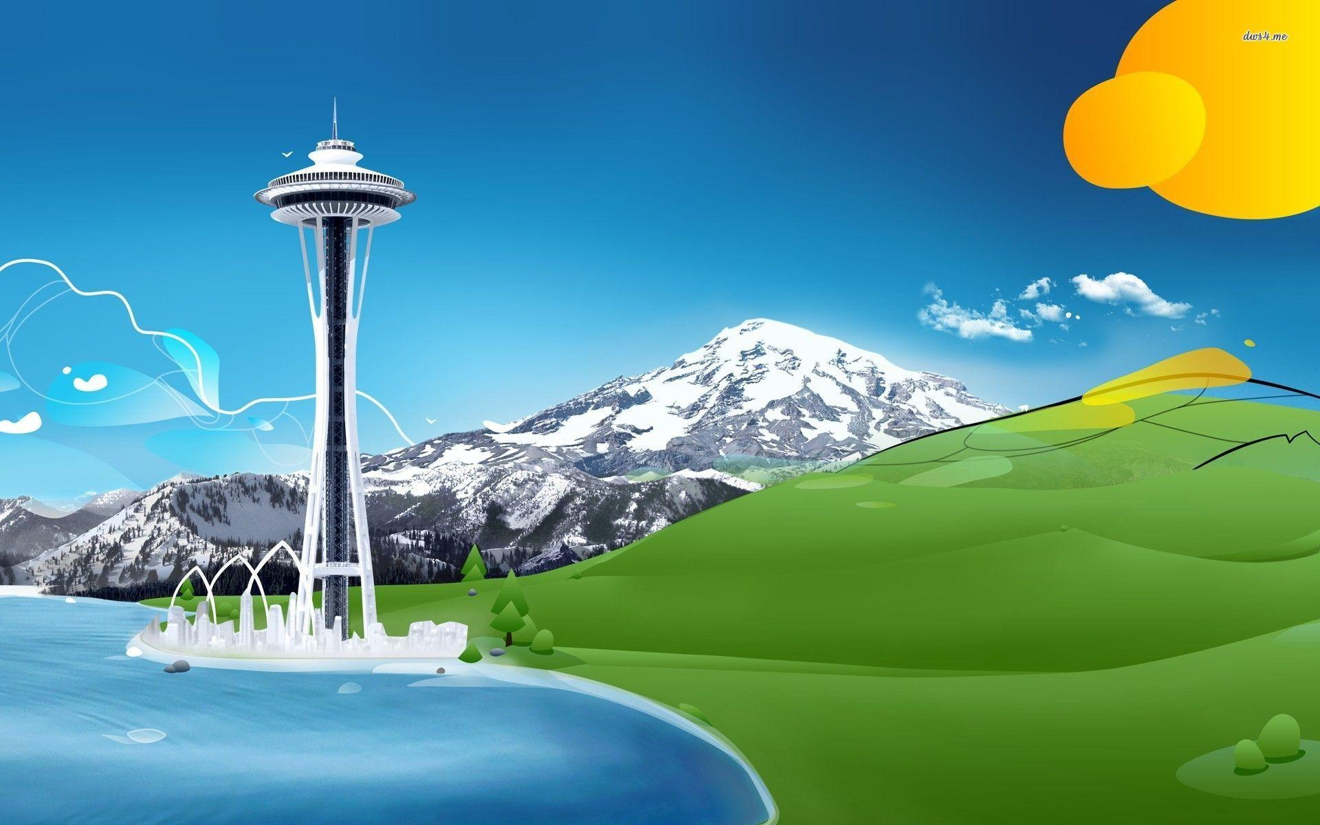 Space Needle in the mountains wallpaper - Digital Art wallpapers - #
