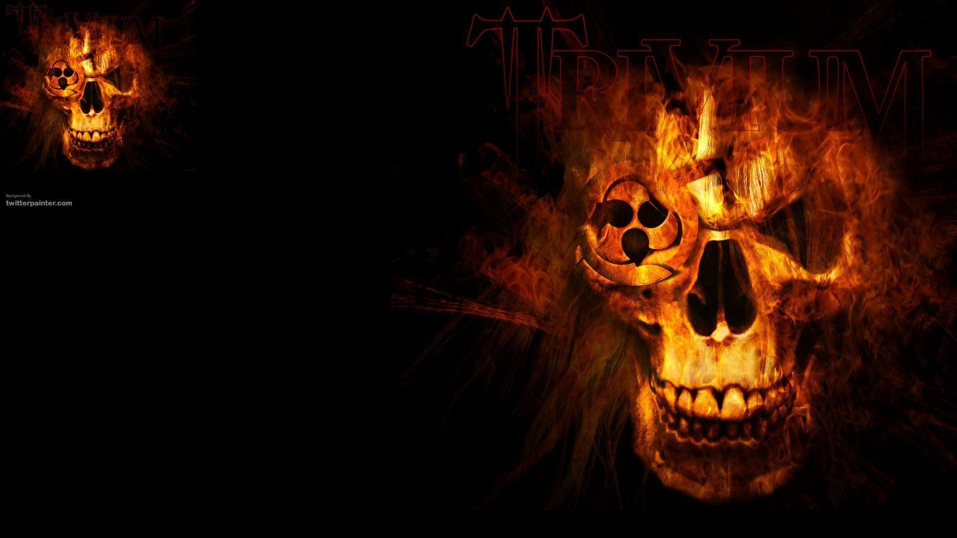 Wallpapers For > Red Fire Skull Wallpapers