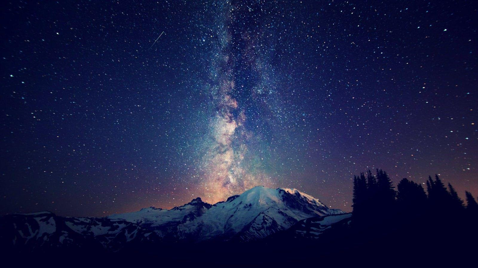 Milky Way Galaxy Over Mountains - Destkop Backgrounds