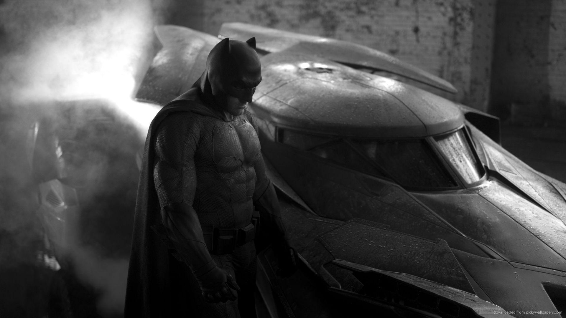 Download 1920x1080 Batman Ben Affleck With New Batmobile Wallpapers