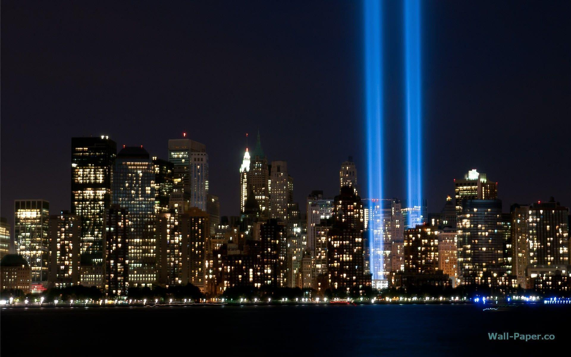 The Tribute In Light Rises Above Lower Manhattan During A Test