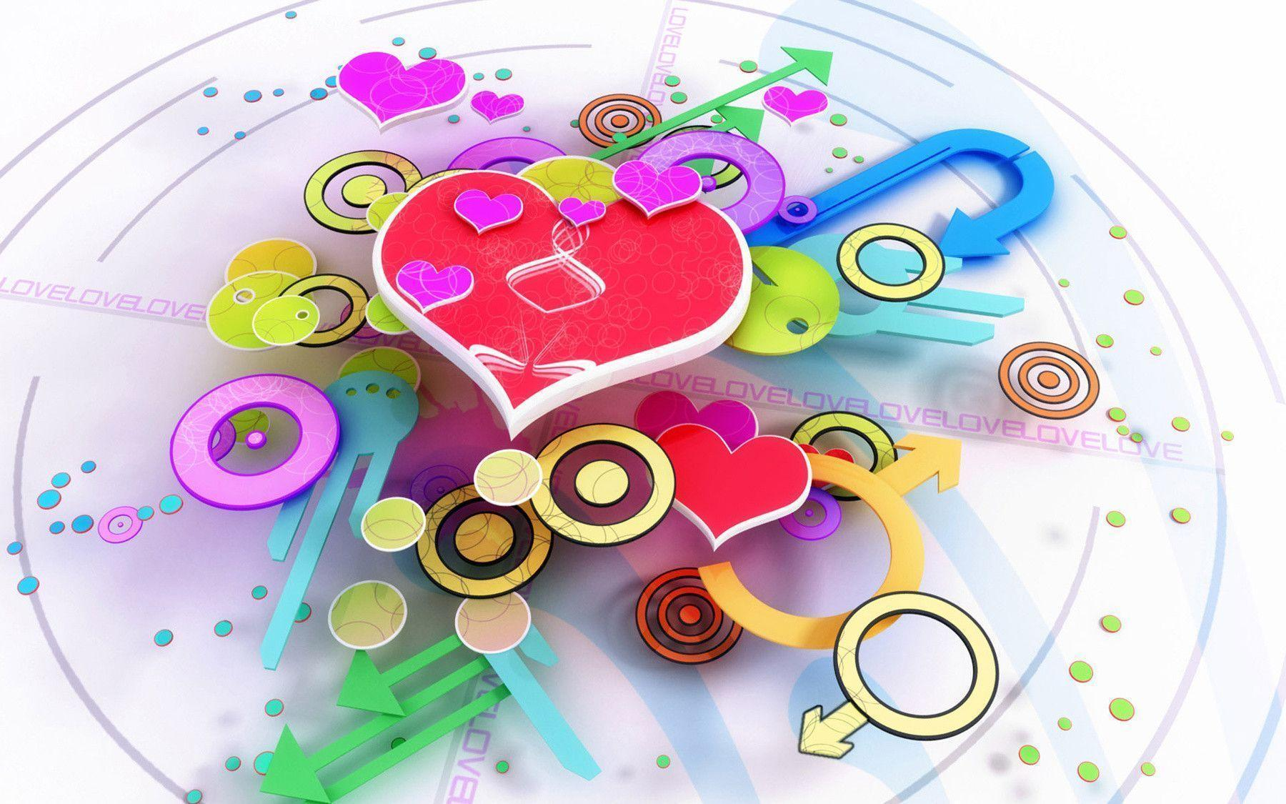 free cute 3d valentines day heart desktop wallpaper wallpaper