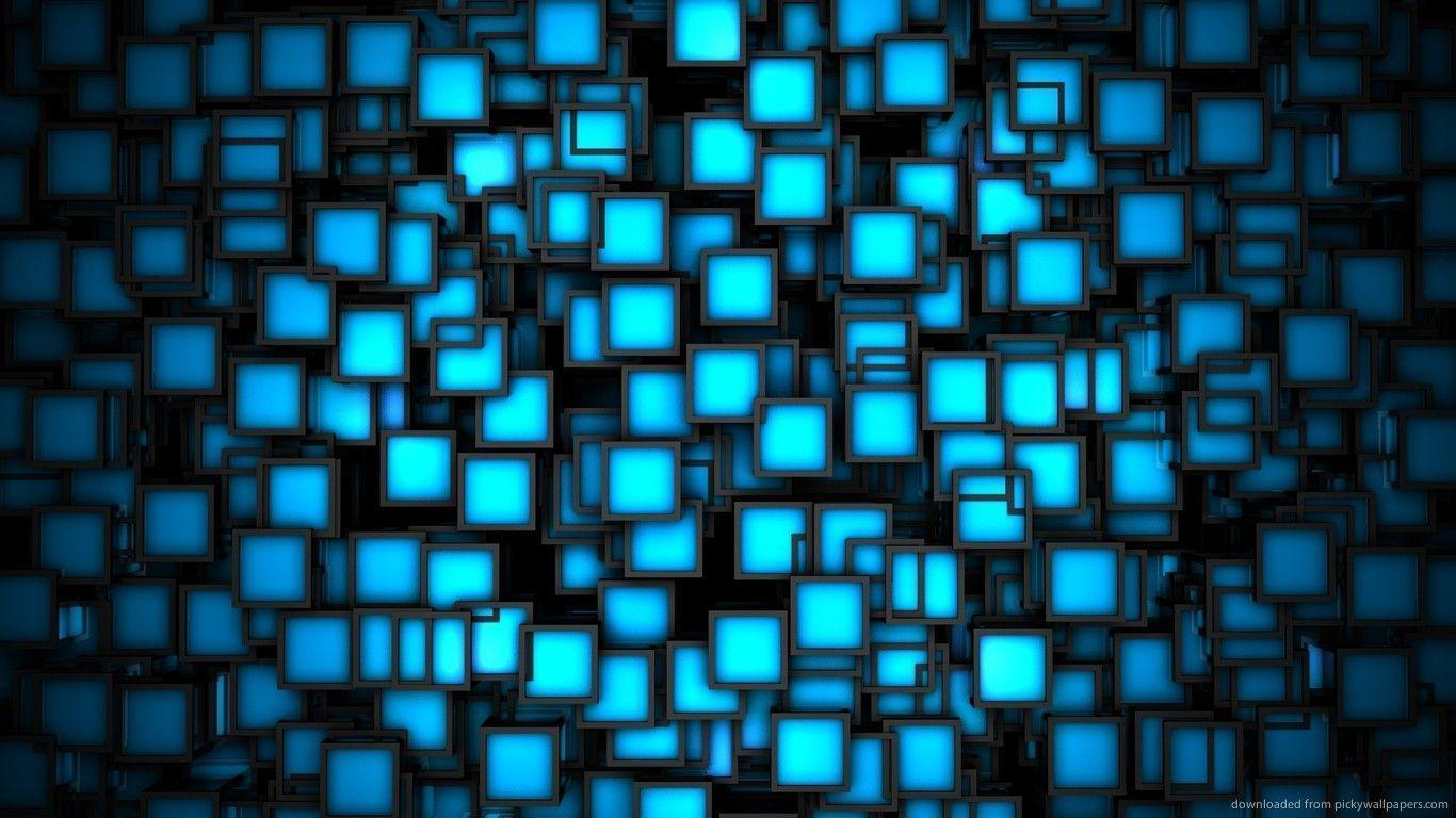 Download 1366x768 Neon Blue Squares Wallpapers