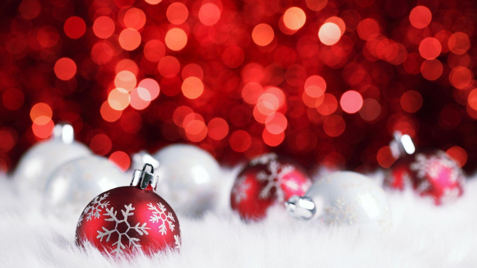 Nice Christmas Ornaments And Red Glitter Widescreen Wallpaper