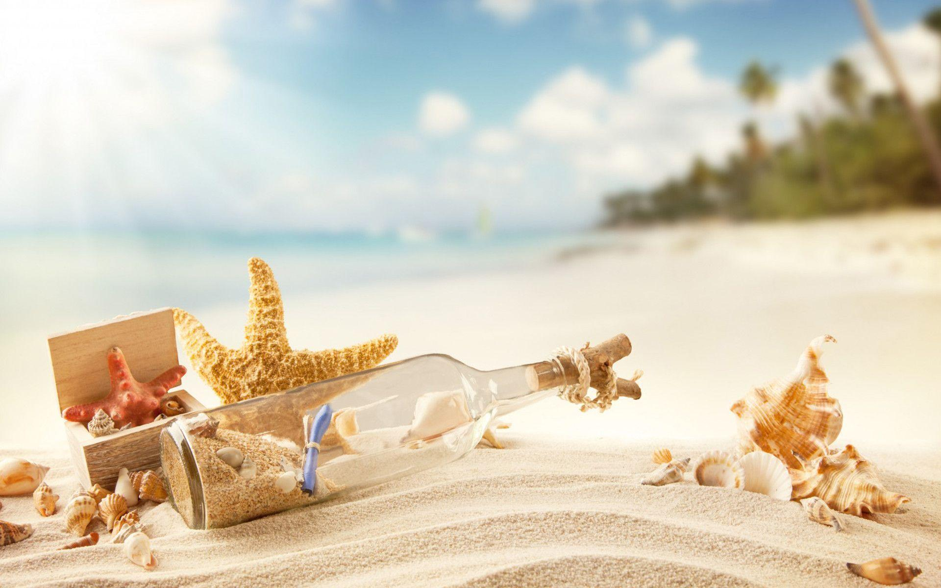 Beach Sea Shell Collection, Bottle, Sand widescreen wallpapers