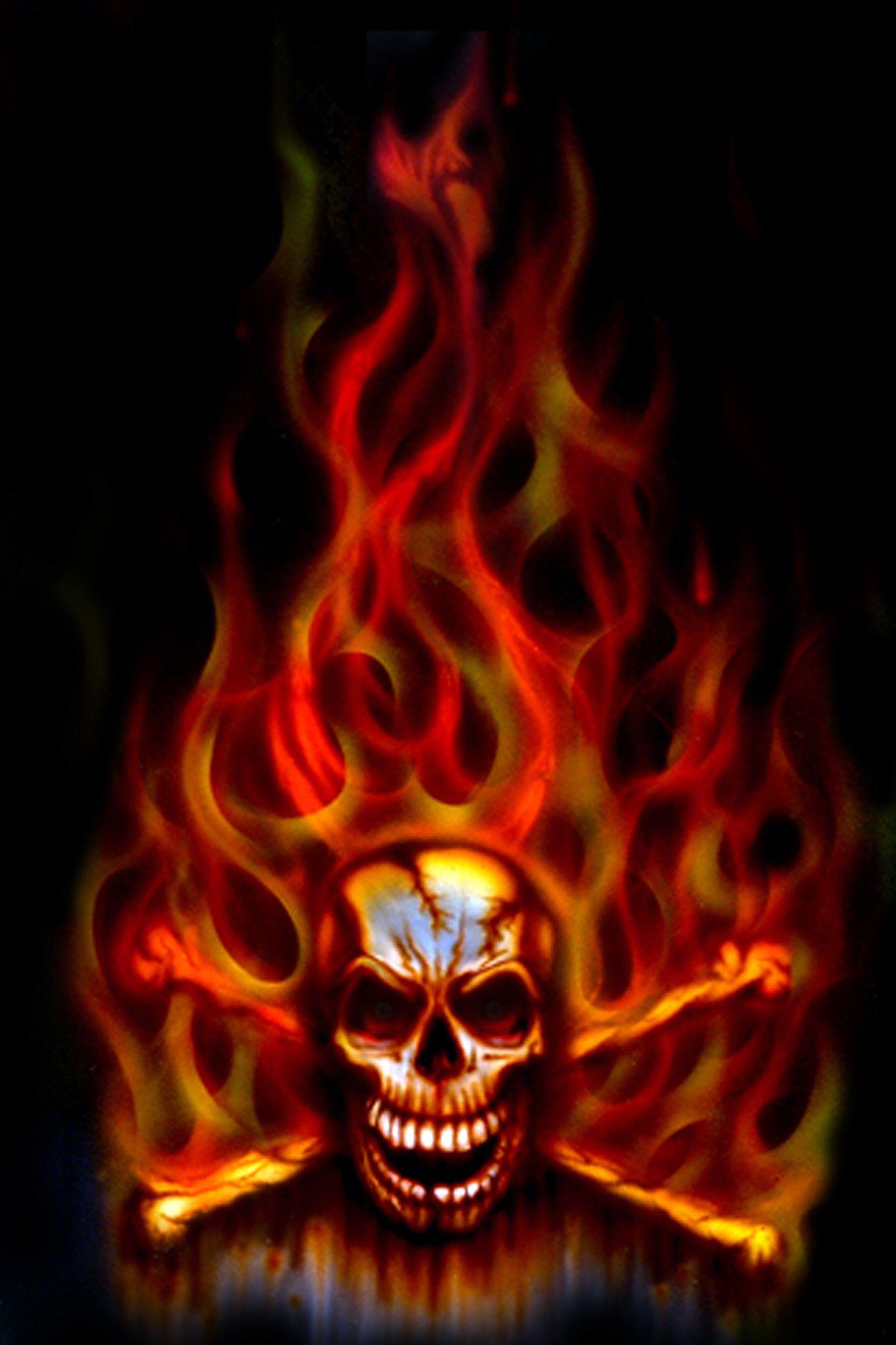 Images For Green Flaming Skull Wallpaper