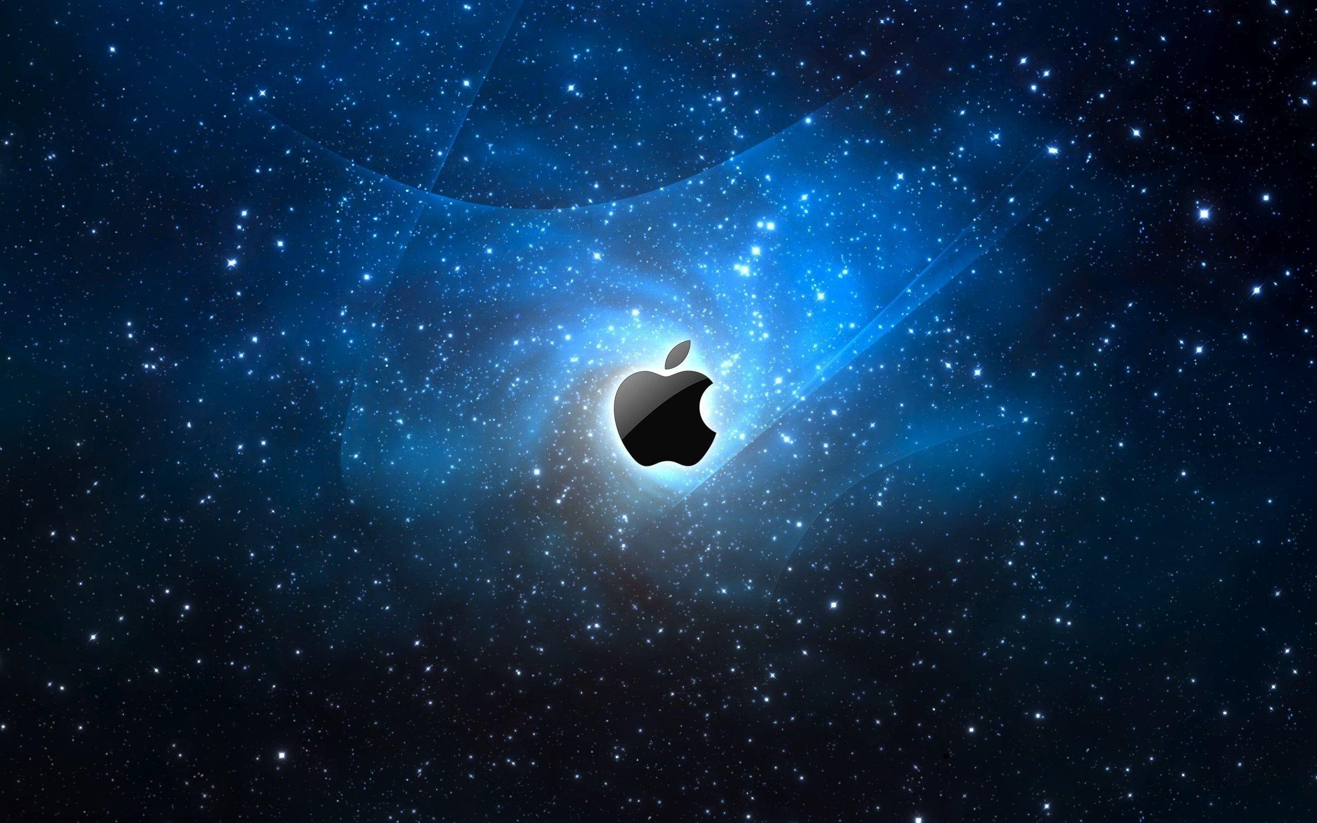 Apple in Blue Space Free Stock Photo and Wallpapers