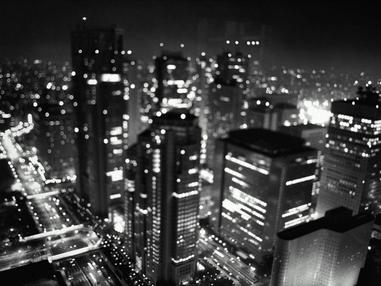 Black And White City Lights