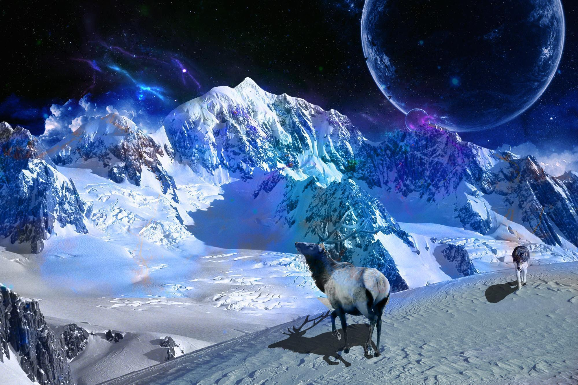 Space Snow Mountain Wallpapers