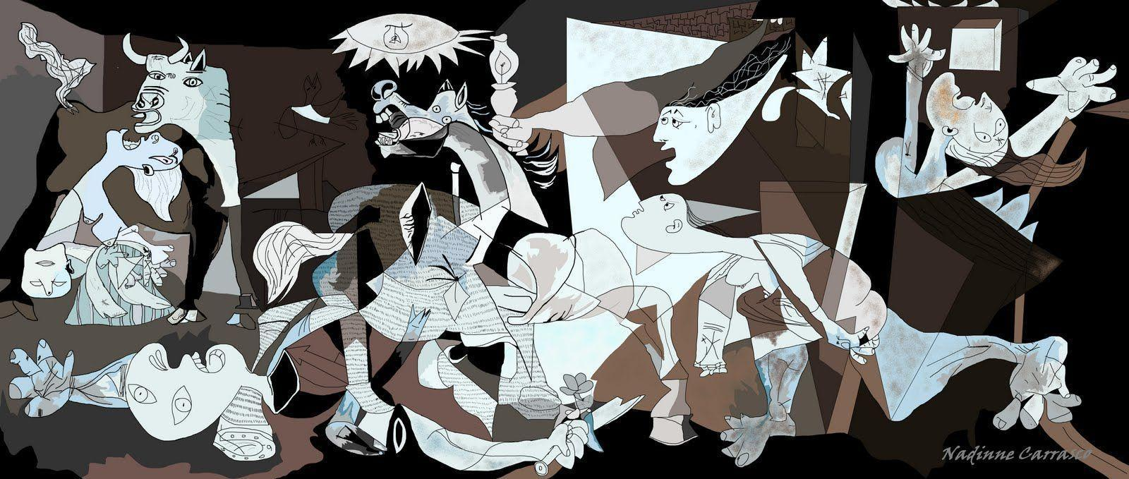 picassos guernica The eighteen paintings are english's narrative to pablo picasso's 1937 painting guernica, which was picasso's immediate artistic reaction to the nazi's bombing practices on the basque town.