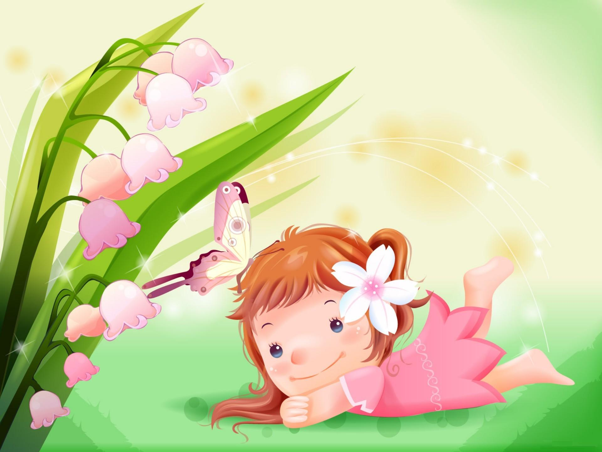 cute cartoon girl with flower hd wallpaper desktop backgrounds free