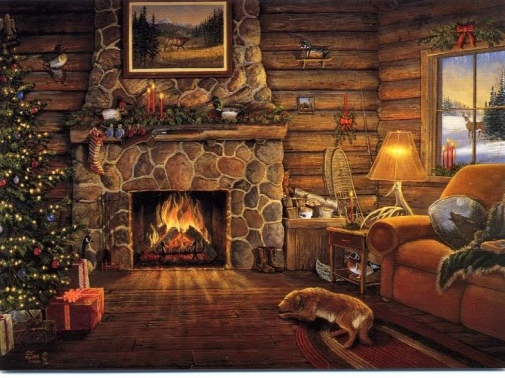 These Christmas Fireplace Wallpapers
