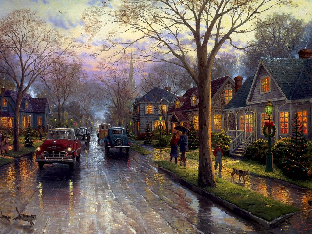 Xmas Stuff For > Thomas Kinkade Christmas Paintings Wallpapers