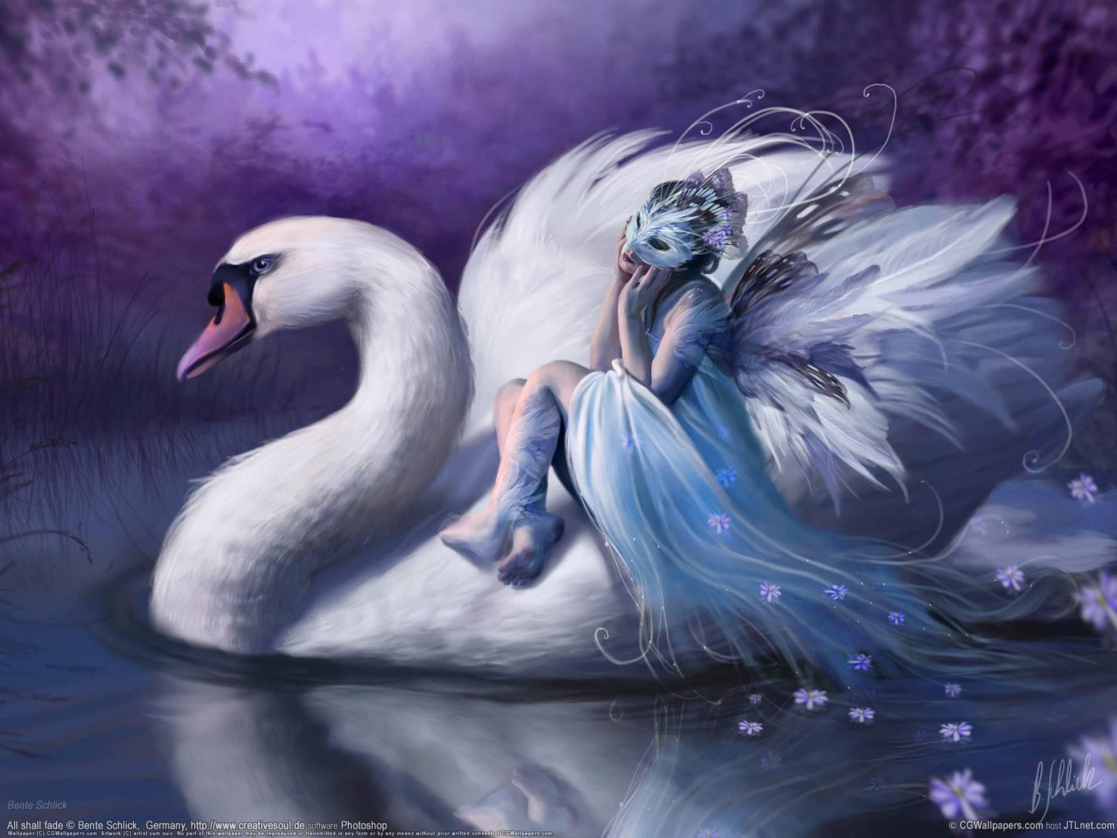 Beautiful fairies wallpapers wallpaper cave beautiful fairy in purple with a swan fairy wallpaper altavistaventures Image collections