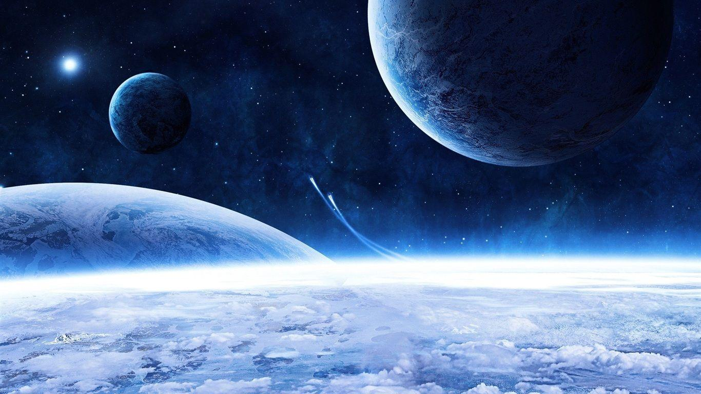 Space ship and blue planet Wallpapers