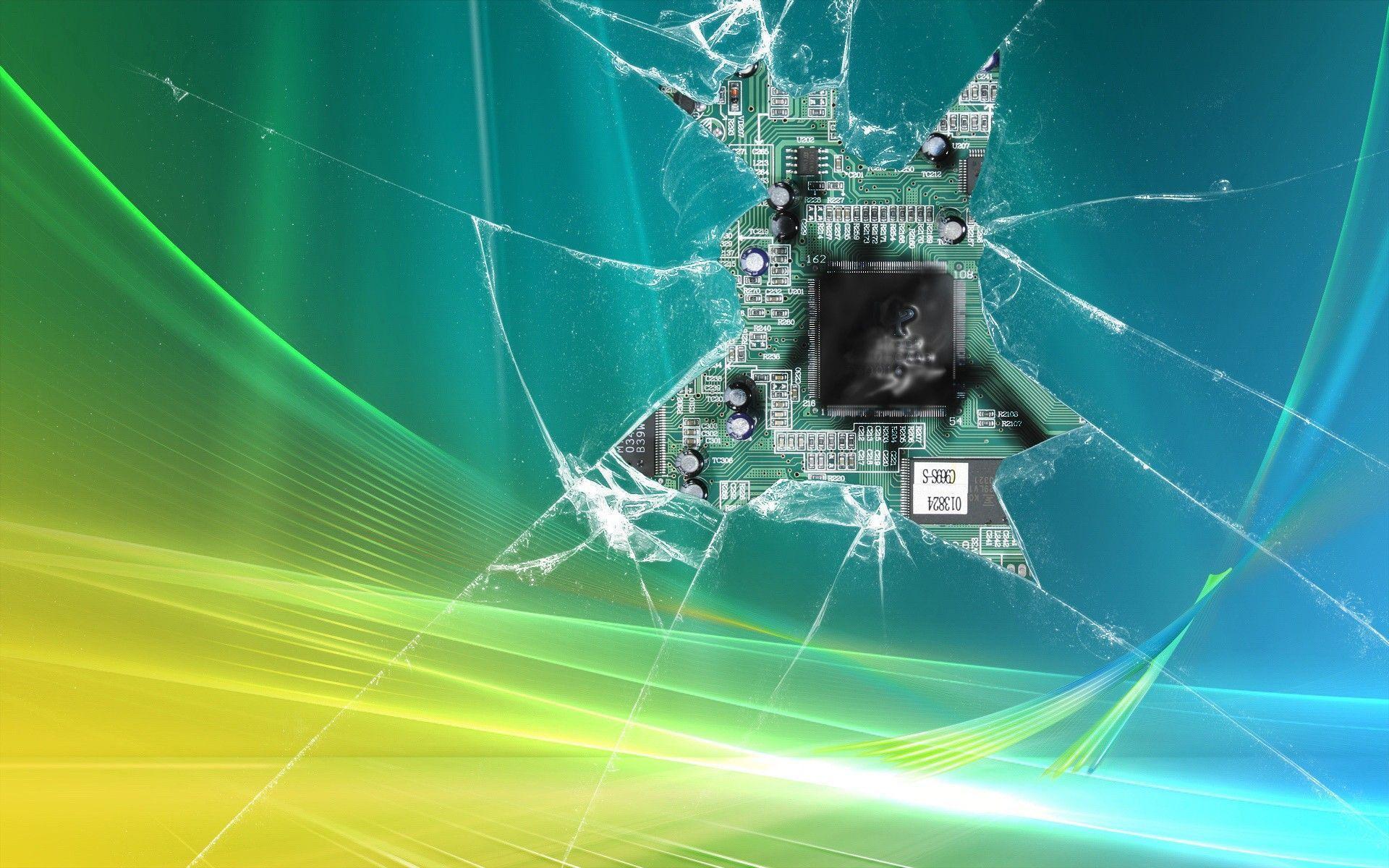 Processor Behind Broken Screen Wallpaper