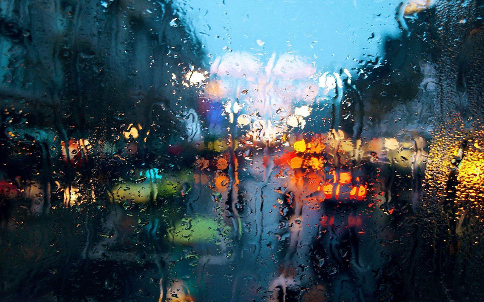 Colourful Rainy Drops On Window Wallpaper