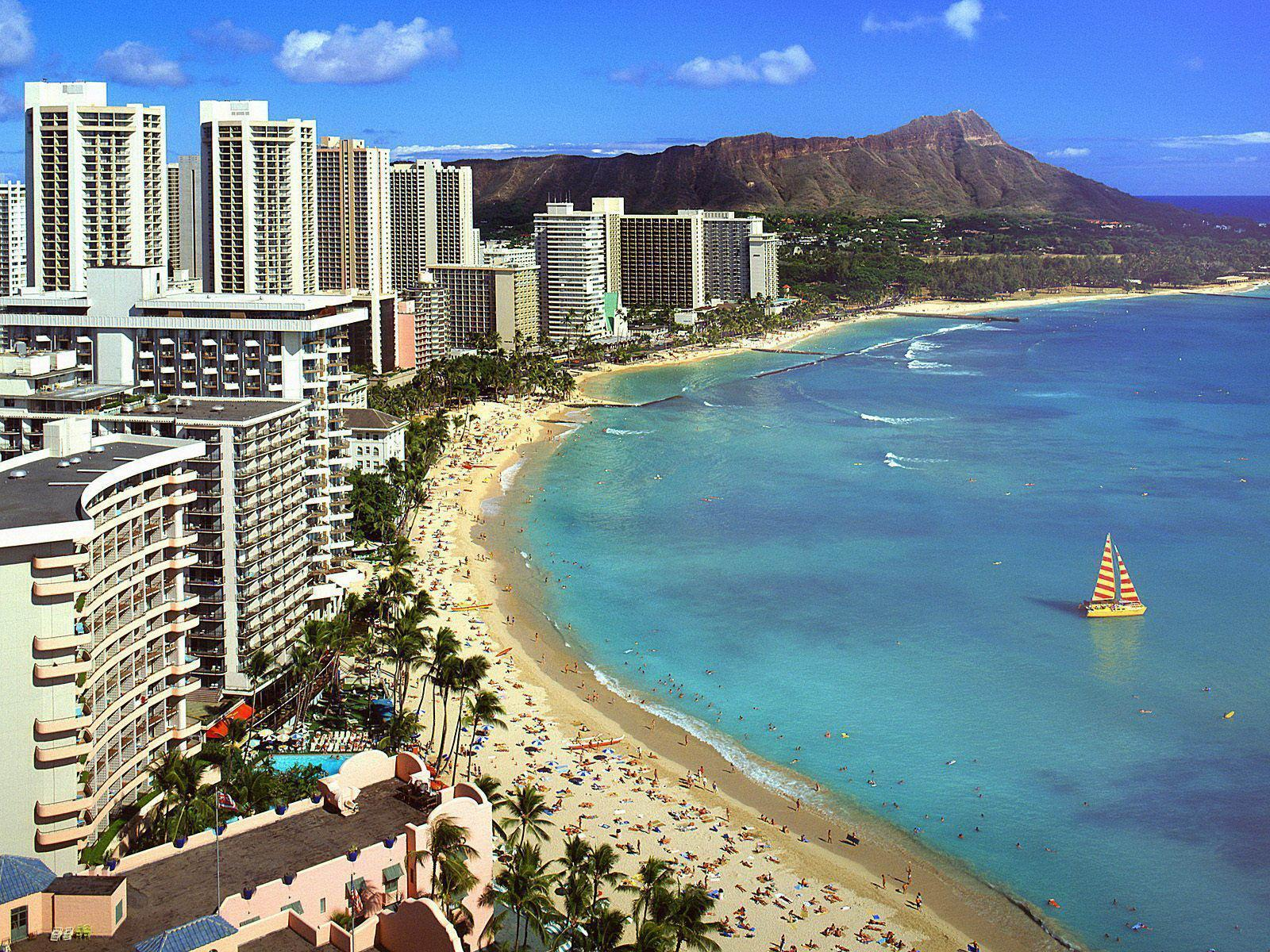 View of Waikiki beach Hawaii free desktop backgrounds