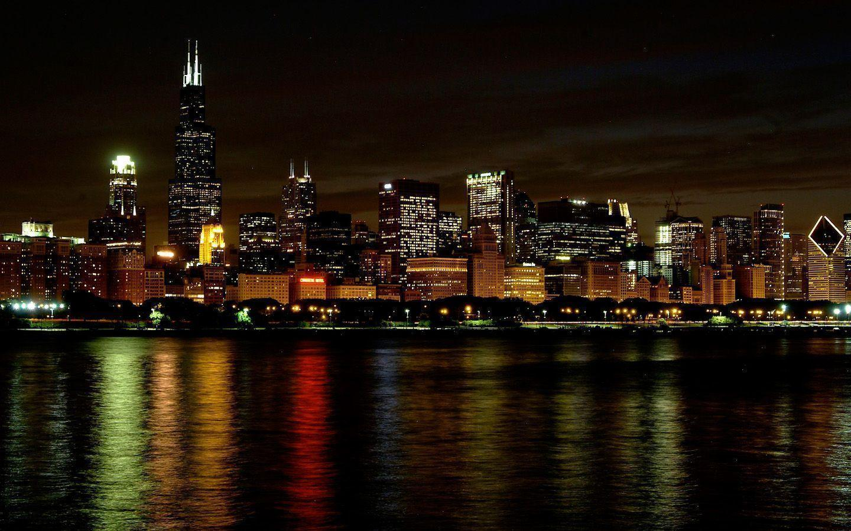 chicago night skyline wallpaper - photo #1