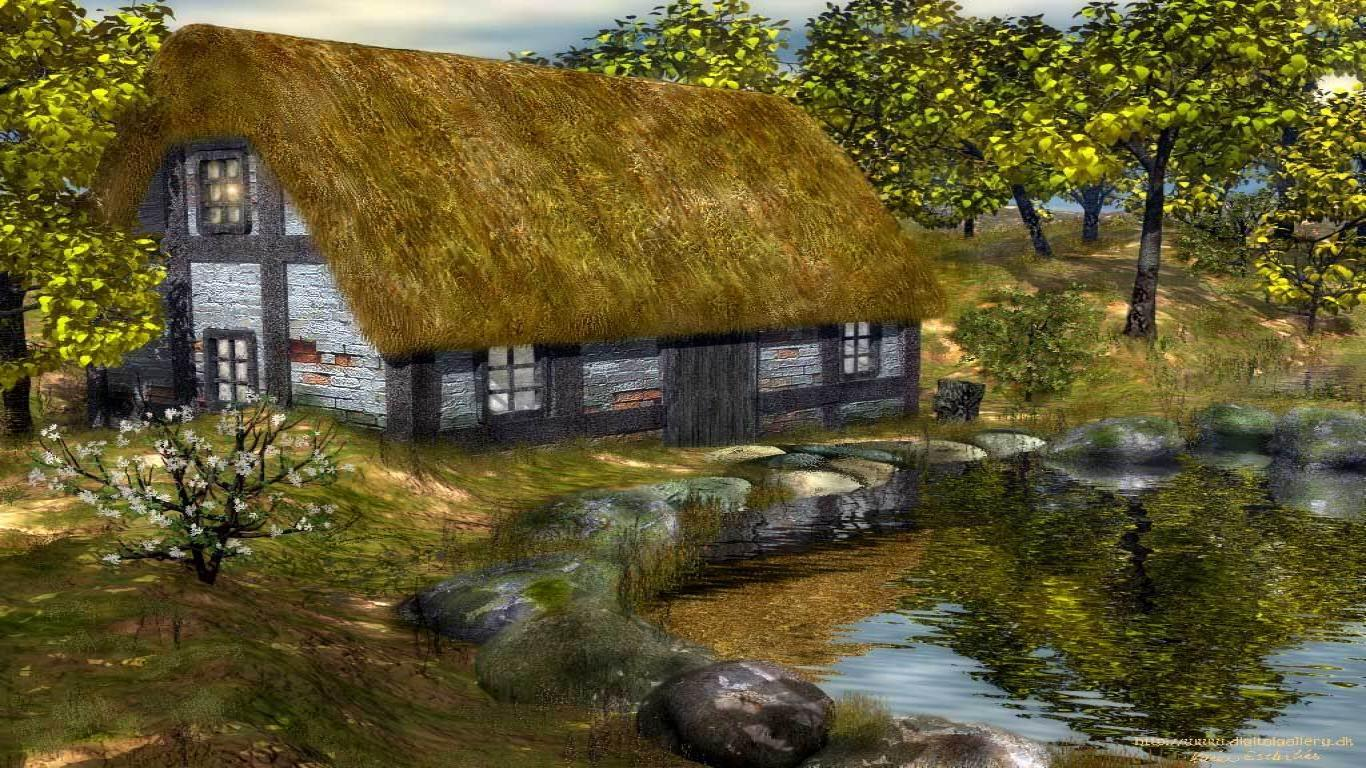 Rural House Vincent Famous Paintings Wallpaper, iPhone Wallpapers