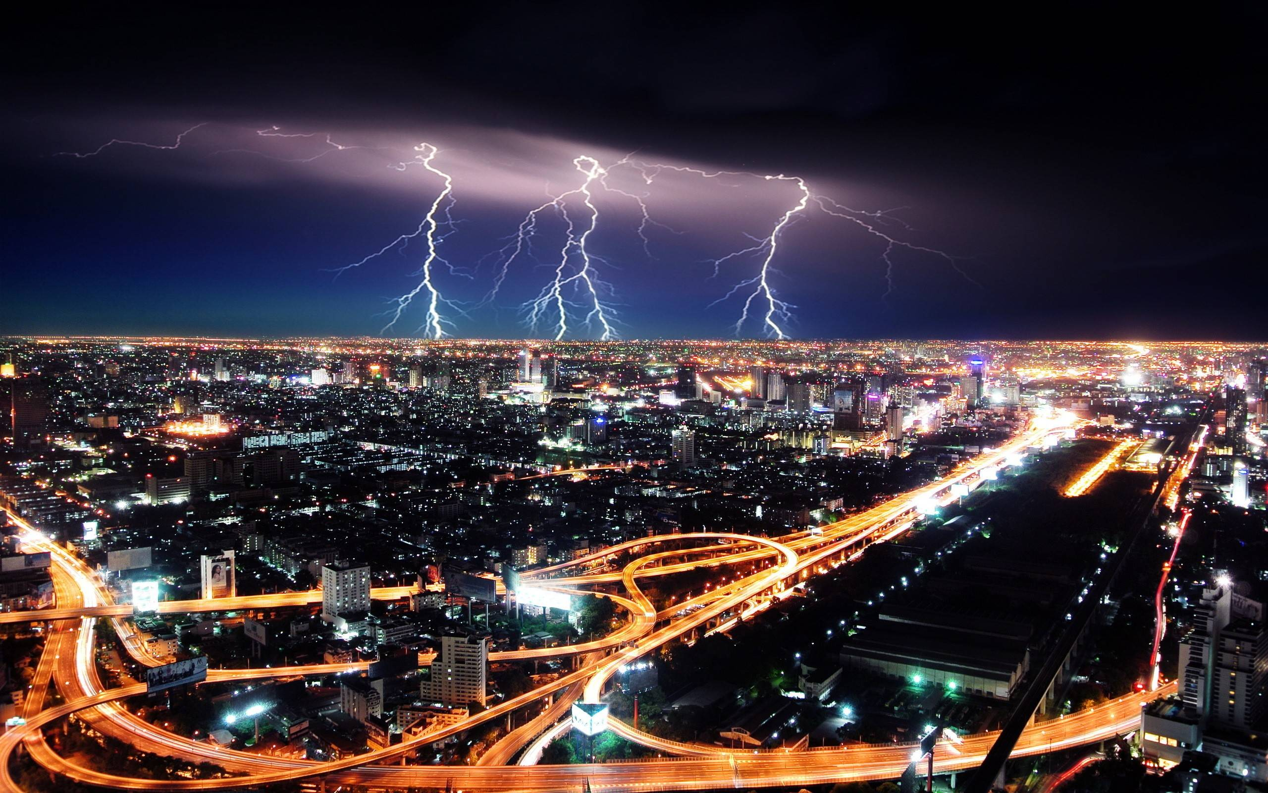 The Images of Night Lights Storm Lightning Cities HD Wallpaper ...