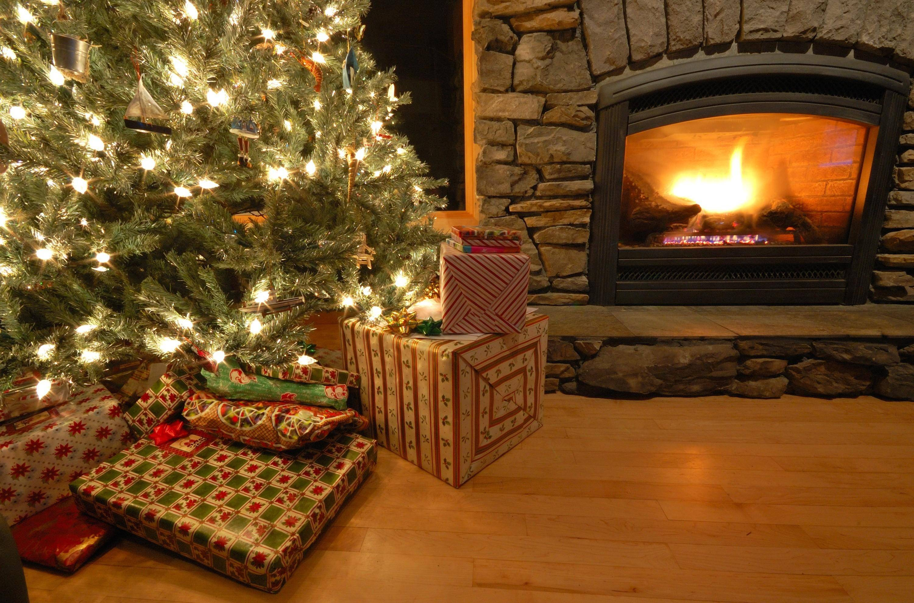 Xmas Stuff For > Christmas Tree And Fireplace Backgrounds