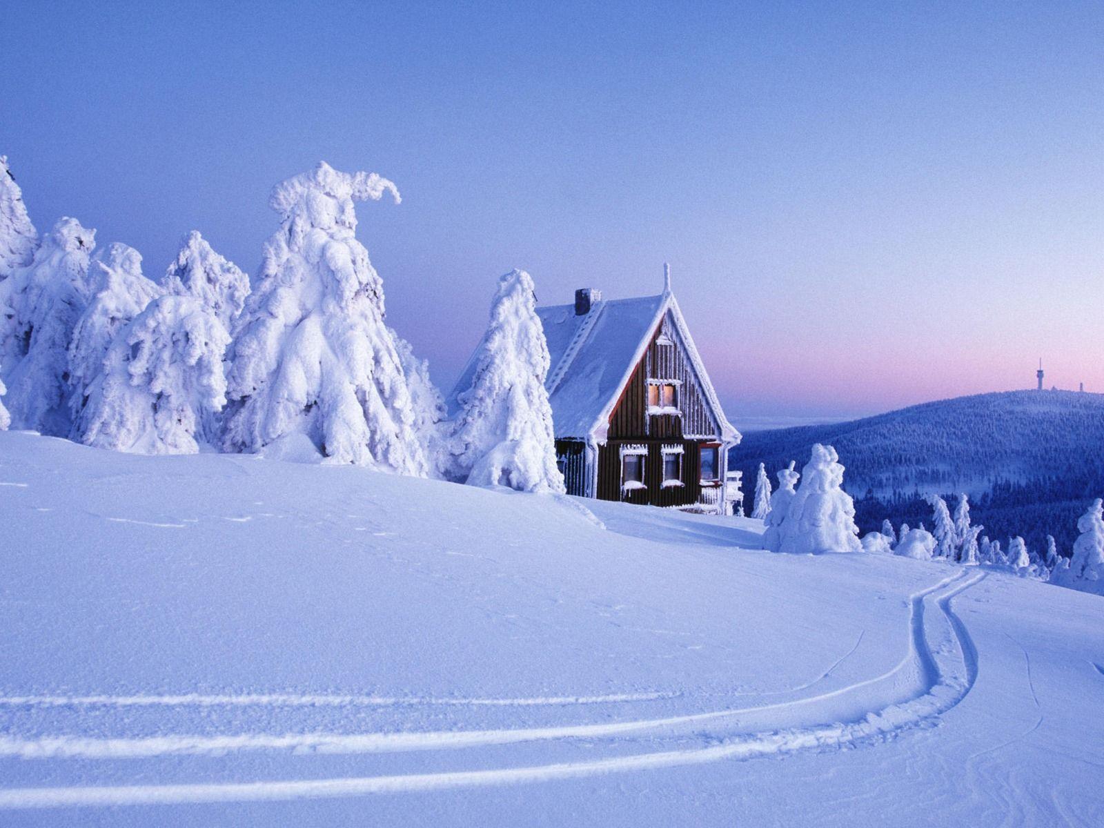 old cabin winter scene wallpaper - photo #7