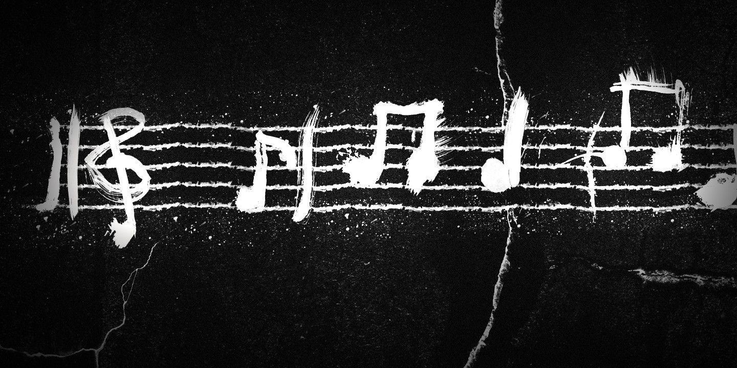 Download HD Black White Music Notes Wallpaper