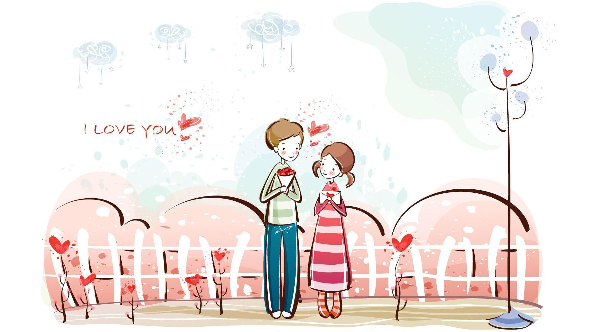 Wallpapers For > Sweet Cartoon Love Wallpapers