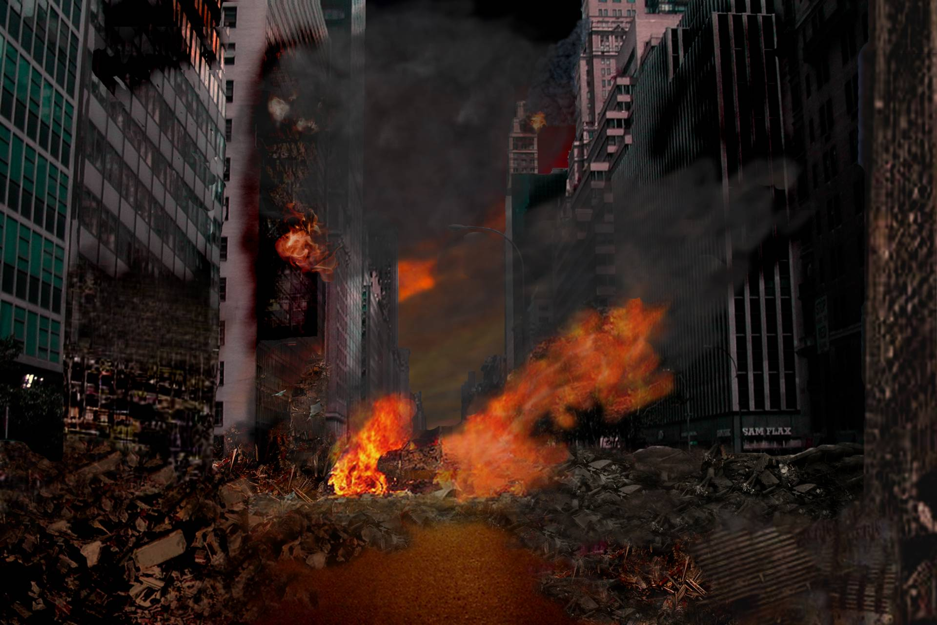 Image For > Destroyed City Zombies